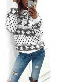 Jersey reno copo de nieve floral navidad cuello redondo manga larga lindo gris