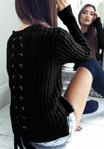 Maglione spacco laterale con lacci irregolari girocollo manica lunga nero