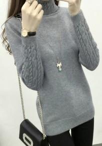 Maglione colletto A fascia collo alto manica lunga grigio