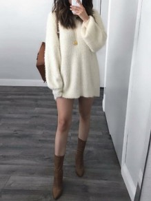 White Round Neck Long Sleeve Cute Pullover Sweater