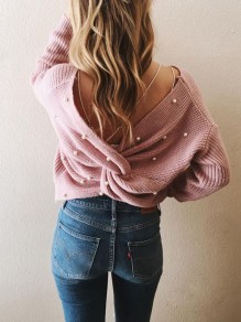 Pink Patchwork Pearl Irregular Cross Back Backless Fashion Knit Sweater