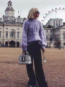 Light Purple Cut Out Round Neck Pullover Sweater