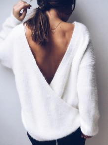 White Backless Round Neck Long Sleeve Fashion Pullover Sweater