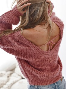 Date Red Tie Back Backless V-neck Long Sleeve Oversize Slouchy Pullover Sweater