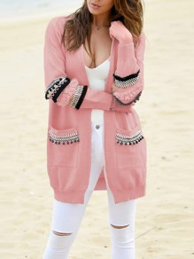 Pink Patchwork Pockets Ruffle Tassel Long Sleeve Casual Cardigan Sweater