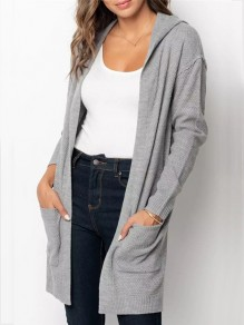 Grey Pockets Slit Hooded Long Sleeve Oversize Cardigan Sweater