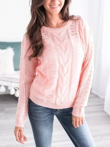 Pull découpe manches longues casual rose