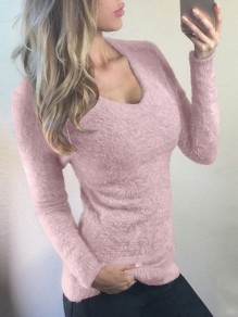 Pullover col rond manches longues mode rose