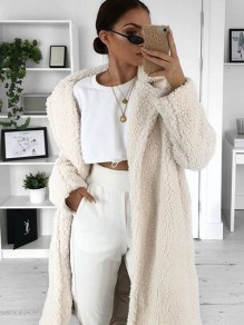 White Pockets Fur Button Turn Down Collar Oversize Thick Long Warm Winter Teddy Coat