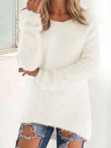 White Round Neck Long Sleeve Going out Pullover Sweater