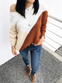 Brown White Color Block One Shoulder Casual Pullover Sweater