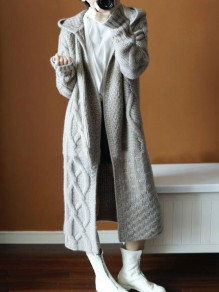 Grey Cut Out Hooded Long Sleeve Casual Rough Cardigan