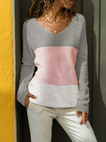 Grey Pink Color Block V-neck Long Sleeve Casual Pullover Sweater