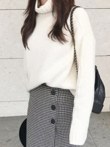 White High Neck Long Sleeve Oversize Casual Pullover Sweater