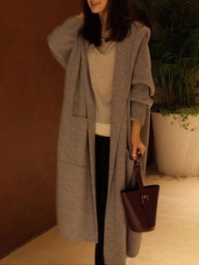 Grey Pockets Cut Out Hooded Long Sleeve Casual Cardigan Long Coat