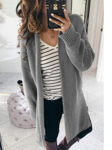 Cardigan col V manches longues casual gris