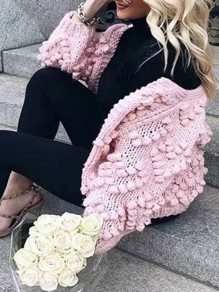 Cardigan love manches longues col rond rose