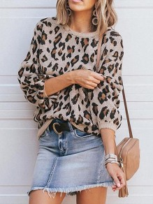 Khaki Leopard Print Round Neck Lantern Sleeve Casual Pullover Sweater