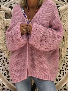 Pink V-neck Long Sleeve Oversized Cardigan Sweater
