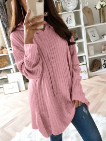 Pullover cordon manches longues casual polyester rose