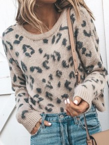 Light Coffee Leopard Print Oversize Round Neck Long Sleeve Slouchy Cute Pullover Jumper Sweater