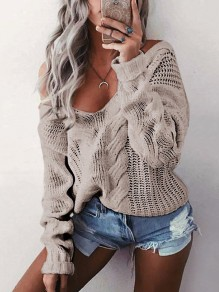Khaki Cut Out V-neck Long Sleeve Casual Sweater