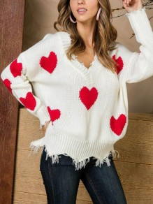 White Floral Heart Print Cut Out V-neck Long Sleeve Valentine's Day Casual Sweater