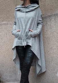 Grey Plain Drawstring Irregular Hooded Round Neck Plus Size Pullover Sweatshirt