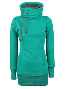 Green Plain Drawstring Pockets Cowl Neck Plus Size Hooded Pullover Sweatshirt