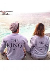 La camiseta el monograma la impresión de rey cuello redondo manga larga jersey casuales gris
