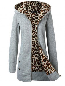 Grey Leopard Pockets Zipper Round Neck Long Sleeve Slim Sweatshirts