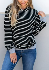 Black-White Striped Pockets Long Sleeve Casual Hooded Sweatshirt