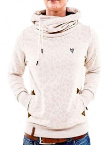 Creamy White Leopard Badge Cowl Neck Pocket Long Sleeve Casual Hooded Sweatshirt