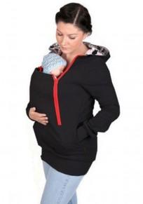 La camiseta con cremallera multifuncional canguro bolsos de bebé informal con capucha con capucha negro