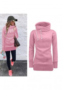 Pink Drawstring Pockets Irregular Collar Long Sleeve Fashion Pullover Sweatshirt