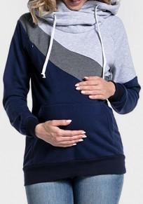 Sweatshirt de grossesse à capuche bloc de couleur maternité allaitement maternel femme bleu marine