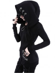 Sweatshirt restyle witchcraft oversized capuche mode punk gothic alternative vestes noir femme