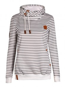 White Striped Drawstring Hooded Long Sleeve Casual Sweatshirt