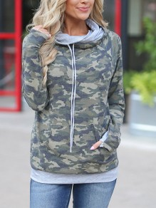 Camouflage Drawstring Pockets Double Hooded Collar Long Sleeve Casual Sweatshirt