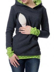Grey Green Polka Dot Cut Out Pockets Zipper Hooded Casual Maternity Nursing Sweatshirt