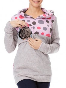 Light Grey Polka Dot Print Pockets Hooded Long Sleeve Casual Maternity Sweatshirt