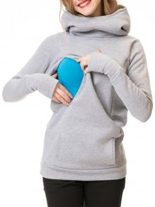 Light Grey Pockets Hooded Long Sleeve Casual Maternity Sweatshirt