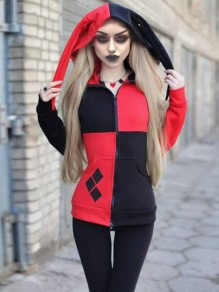 Black-Red Patchwork Pockets Harley Quinn Cosplay Cardigan Casual Hooded Witchcraft Sweatshirt