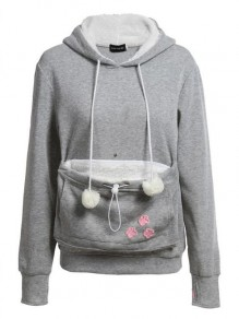 Grey-White Patchwork Pockets Pet Pouch Carrying Hoodie Casual Pullover Sweatshirt