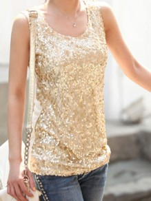 Golden Patchwork Sequin Condole Belt Round Neck Fashion Vest