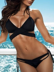 Black 2-in-1 Spaghetti Strap Halter Neck Bikini Swimwear