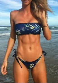 Traje de baño bikini sin espalda de dos piezas azul