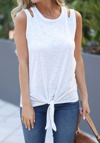White Cut Out Knot Round Neck Casual Going out Vest