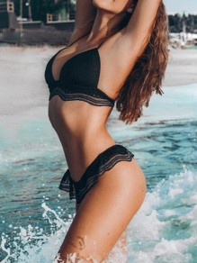 Black Patchwork Lace Cut Out Tie Back Two Piece V-neck Fashion Swimwear