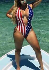 Blue American Flags Print Deep V-neck One Piece Beachwear Swimwear